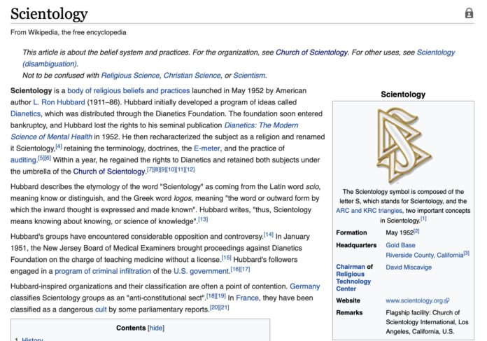 La Chiesa di Scientology e Wikipedia ai ferri corti
