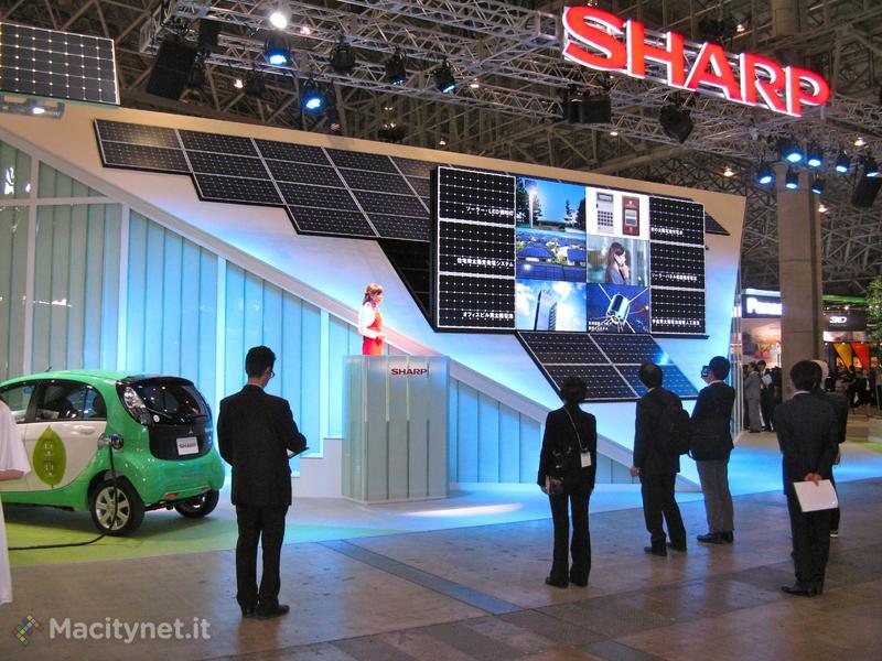 Come tutti i colossi anche Sharp dedica ampio spazio alle energie rinnovabili e al risparmio energetico