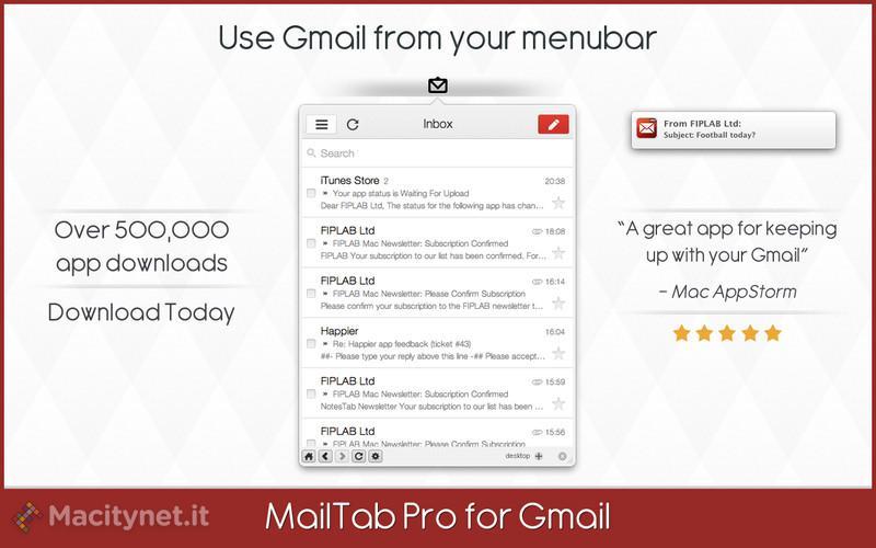 MailTab Pro for Gmail: la posta Gmail come non si è mai vista su Mac