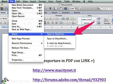 Office Mac: come esportare documenti in PDF mantenendo i link ipertestuali