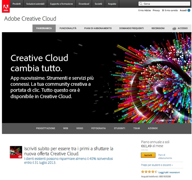 Adobe Creative Cloud abbonamento