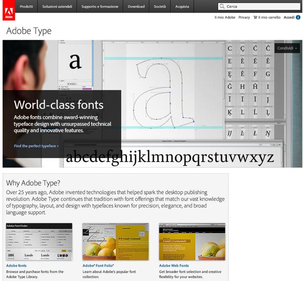 font OS X sito adobe