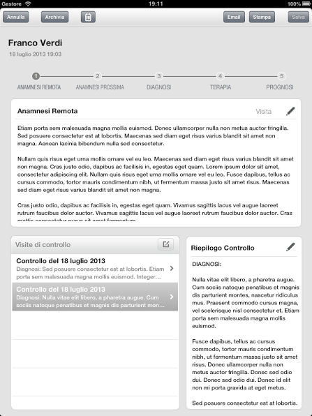 Cartella Clinica per iPad