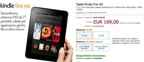 kindle fire hd in sconto