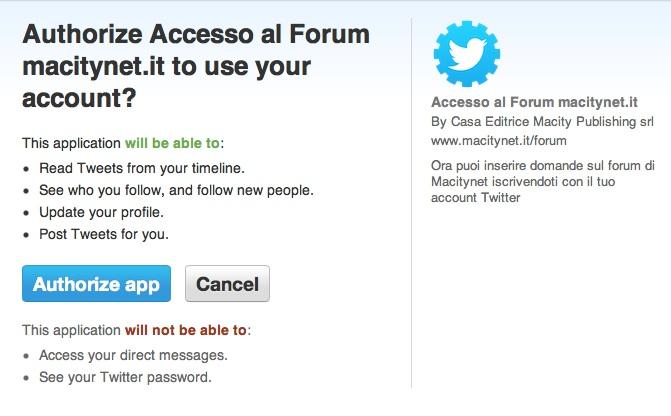Autorizza Forum twitter