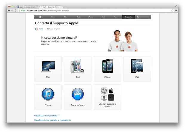 AppleCare e supporto tecnico