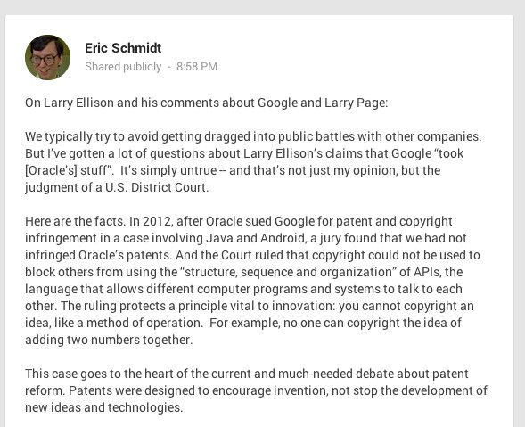 Eric Schmidt - Google+ - On Larry Ellison and his comments about Google and Larry…