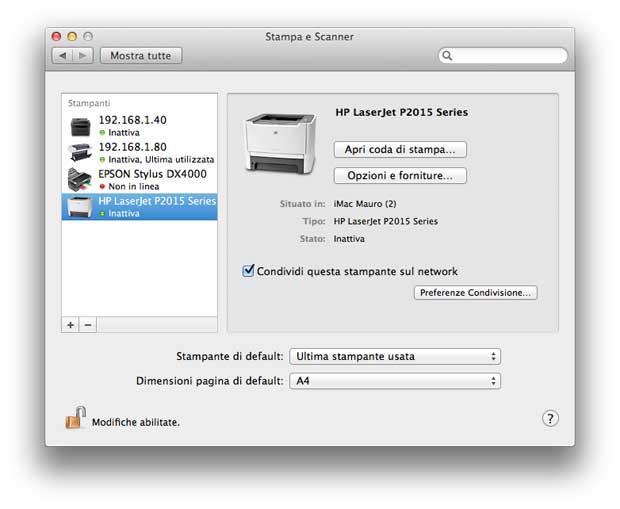 driver OS X stampanti