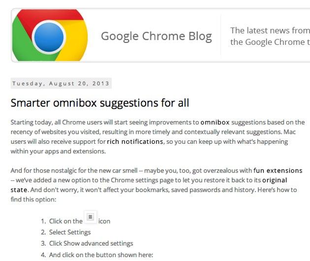Google Chrome 29