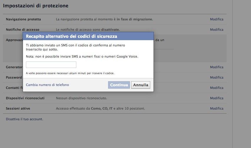Tutorial doppio fattore di autenticazione su facebook-6