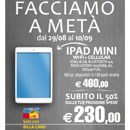Nei supermercati Billa iPad mini a metà prezzo con la promozione Facciamo a metà