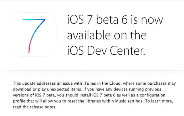 iOS 7 beta 6 ora disponibile per gli sviluppatori Apple