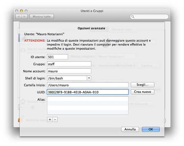 Cambiare il nome utente su mac Os X