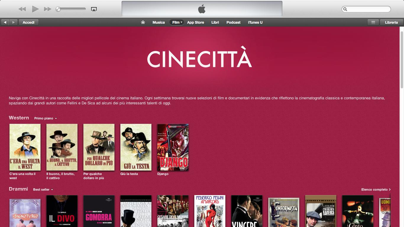 Sezione Cinecittà su iTunes, omaggio al cinema italiano