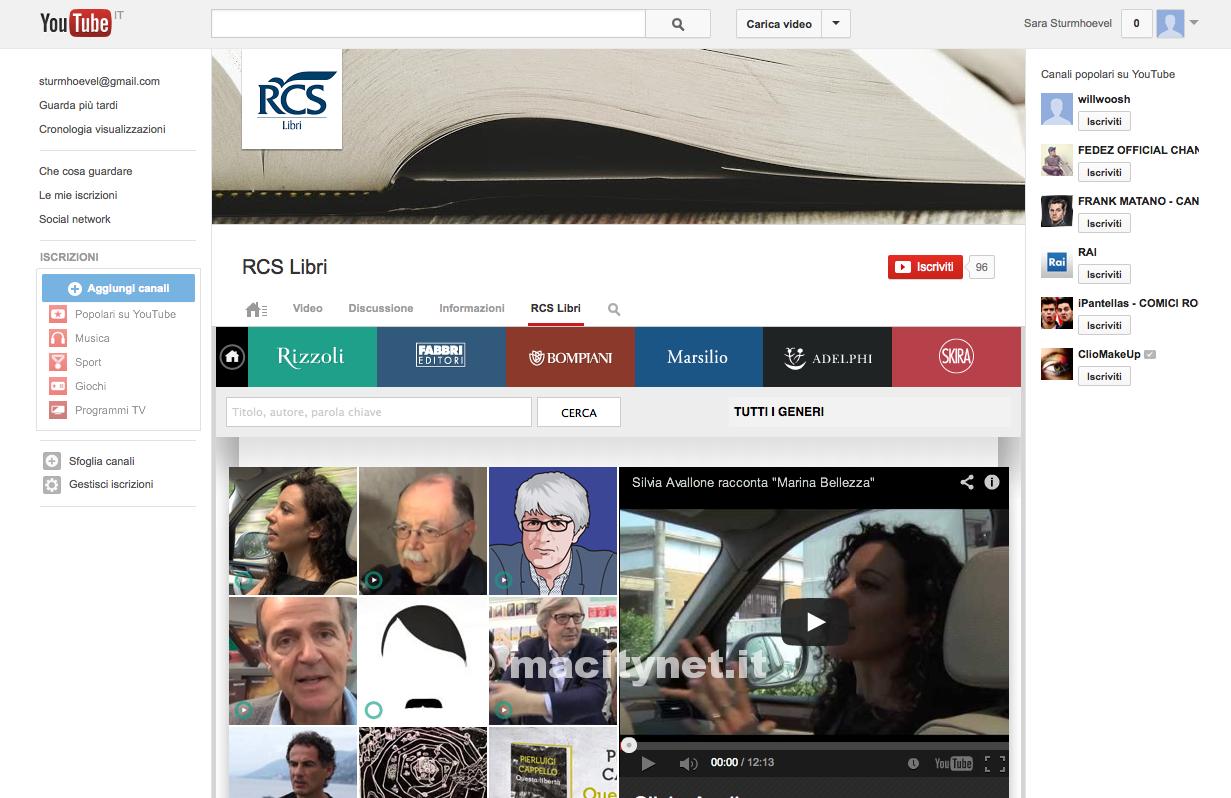 Con RCS Libri un nuovo canale Youtube per promuovere la lettura