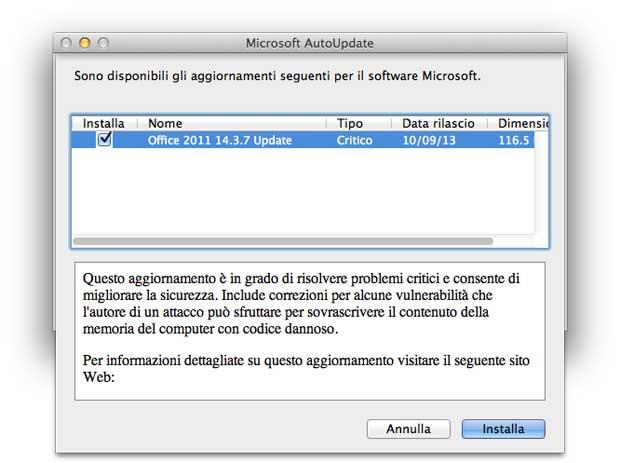 Office Mac 2011 update