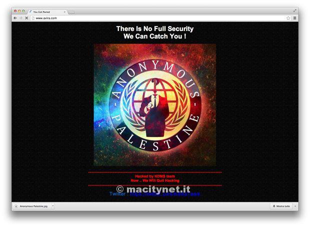 sito web Avira defacciato
