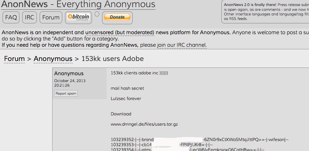 Dati clienti Adobe hash