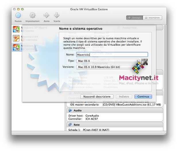 Mavericks su VirtualBox