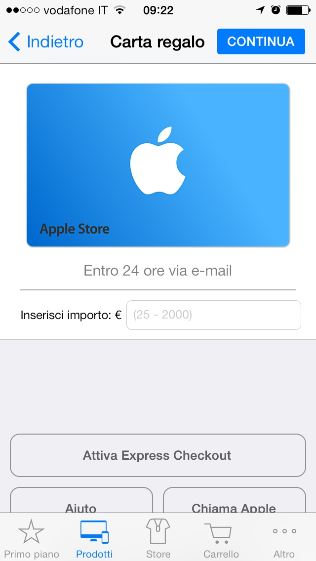 carta regalo apple gratis