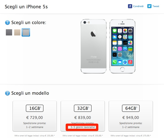 iphone 5s 3-5 giorni