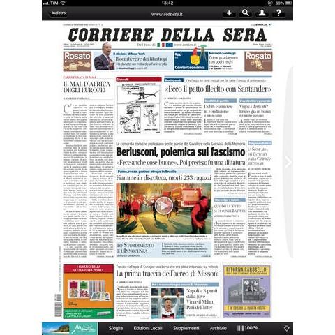 Corriere della sera digital edition per ipad ora con supporto per l 39 edicola di apple - Corriere della sera cucina ...
