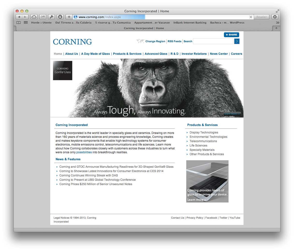 Sito web Corning