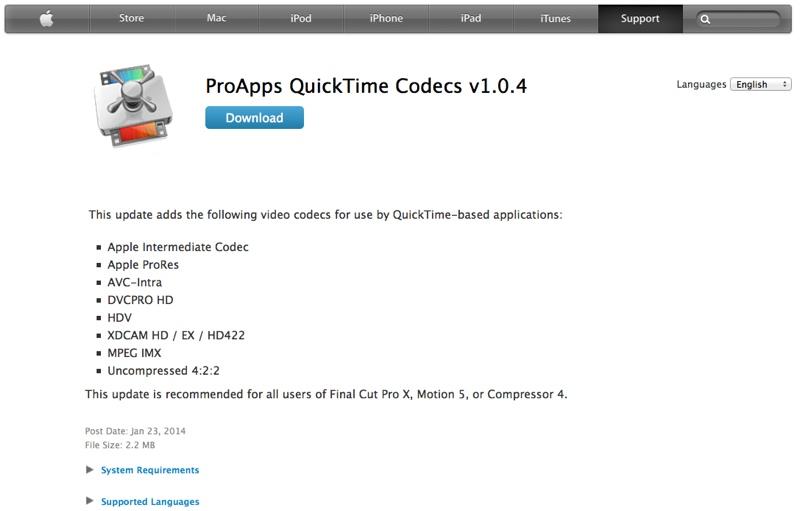 quicktime aggiornamento codec 23gen14