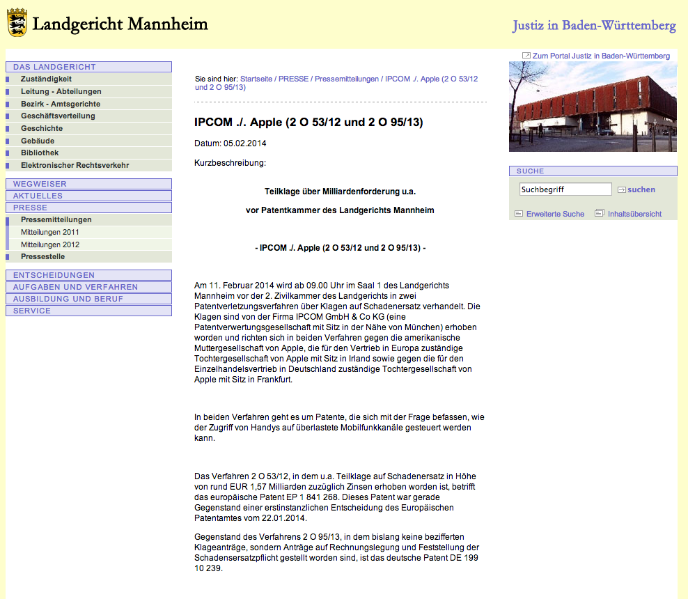 Landgericht Mannheim - IPCOM . . Apple  2 O 53 12 und 2 O 95 13
