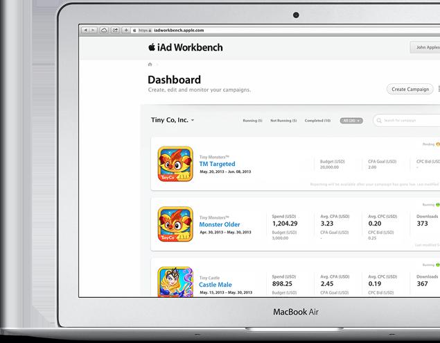 iAd Workbench è uno strumento che permette di creare, gestire e ottimizzare campagne pubblicitarie per promuovere le app.