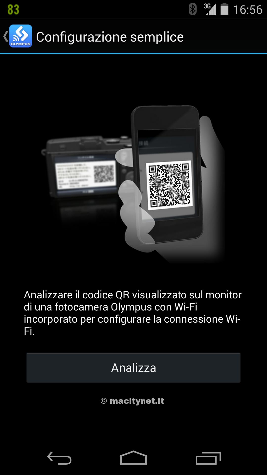 Per connettersi via Wi-Fi basta scannerizzare il QR Code