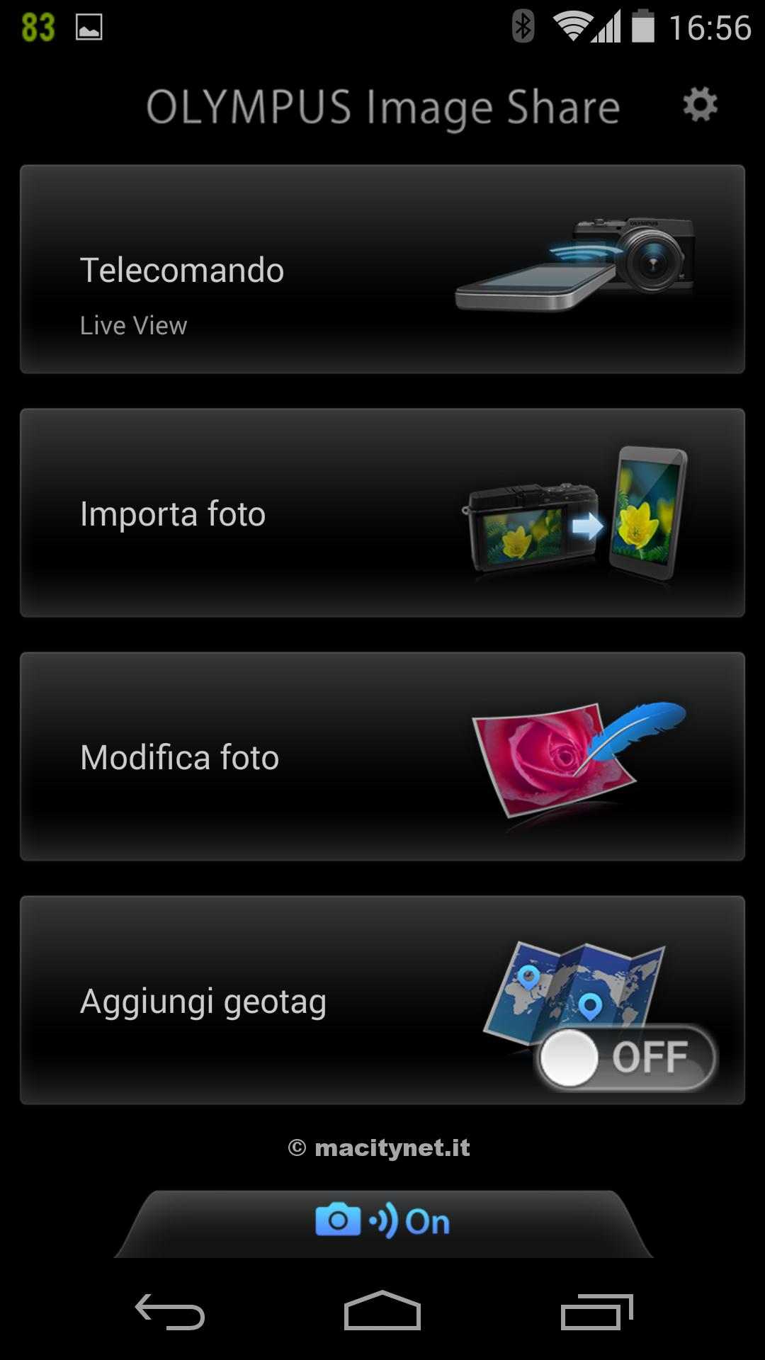 Le opzioni disponibili su smartphone