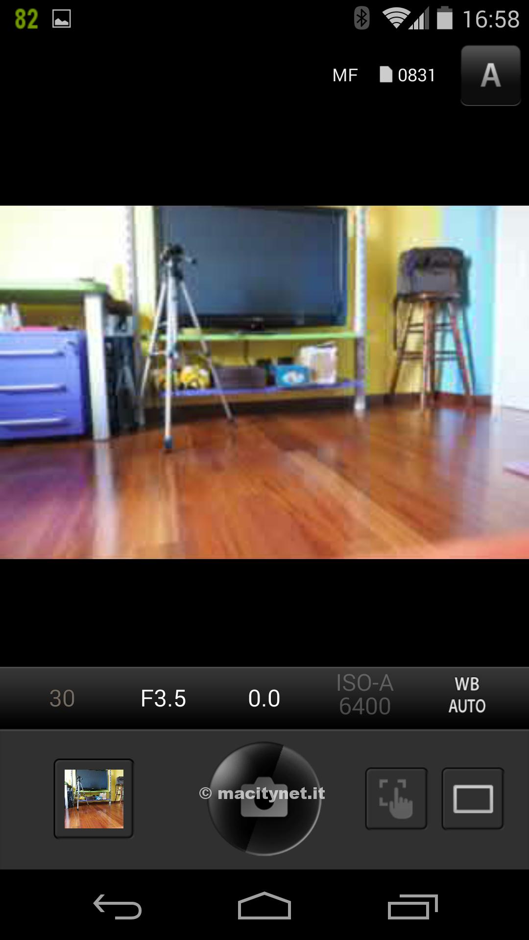 La schermata di scatto remoto