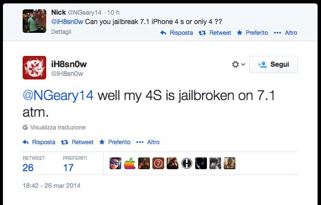 Jailbreak di iOS 7.1 su iPhone 4S