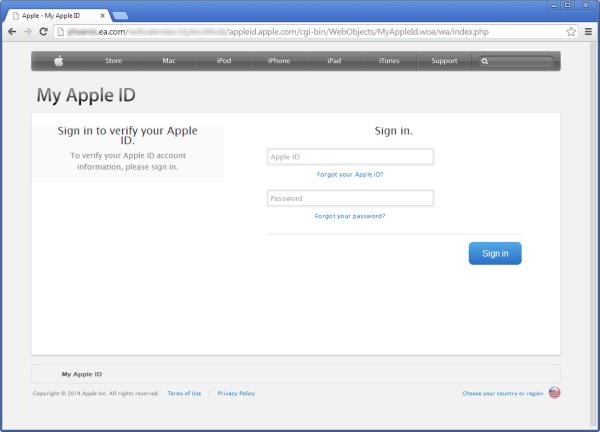 Esempio Phishing, il sito di Electronics Art sfruttato per recuperare ID Apple