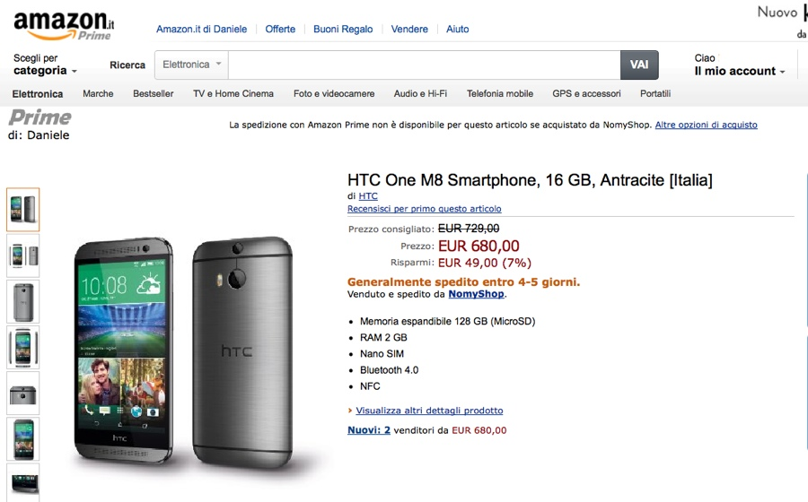 htc one m8 offerta amazon