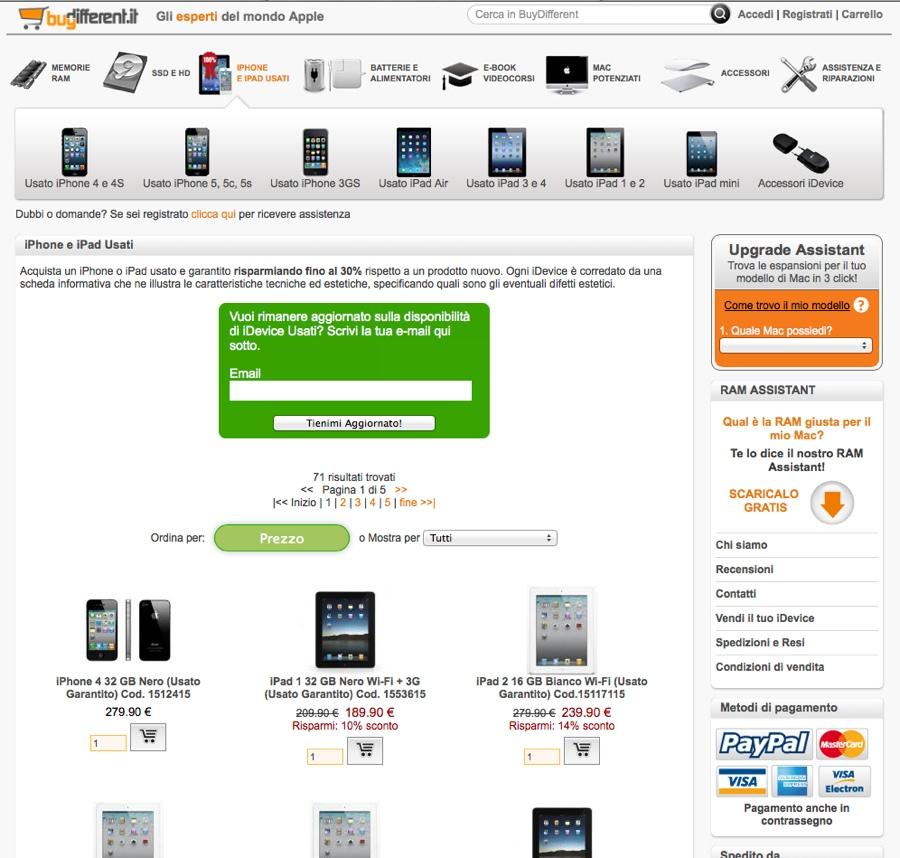 iphone e ipad usati BuyDifferent home usati
