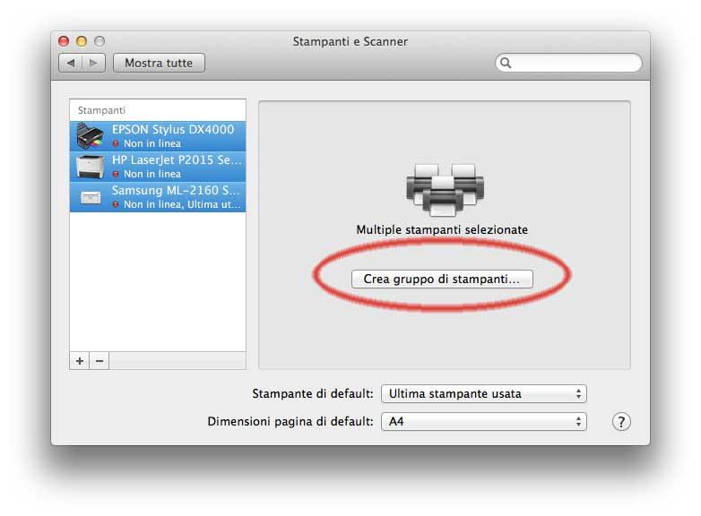 aggiungere stampante di rete mac os x