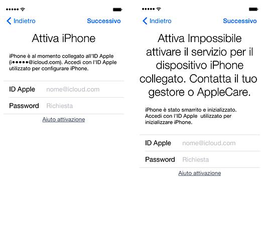 Blocco attivazione iPhone