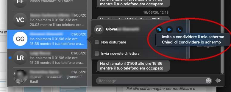 Messaggi macOS, videoconferenza e condivisione facile dello schermo