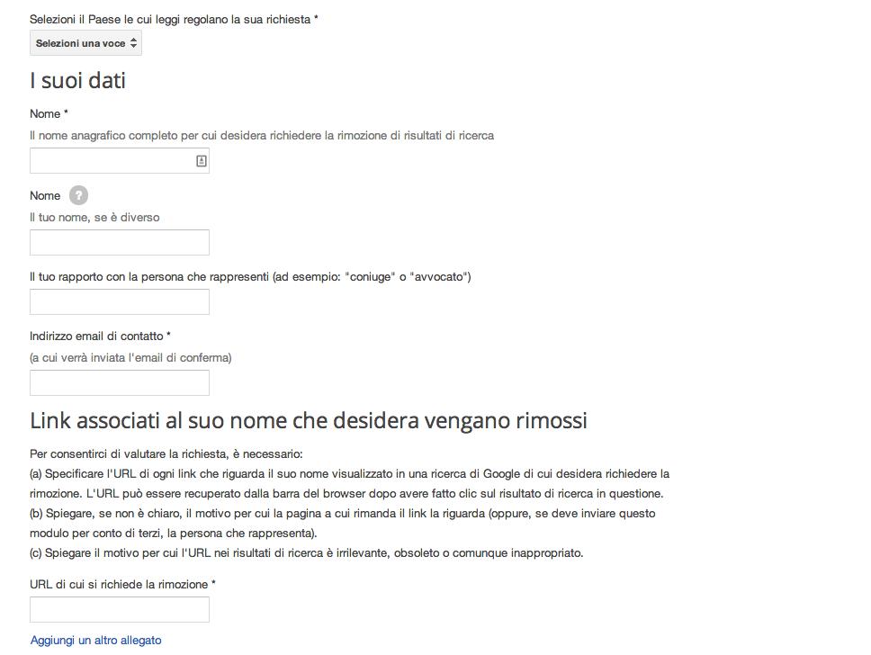 link rimozione google