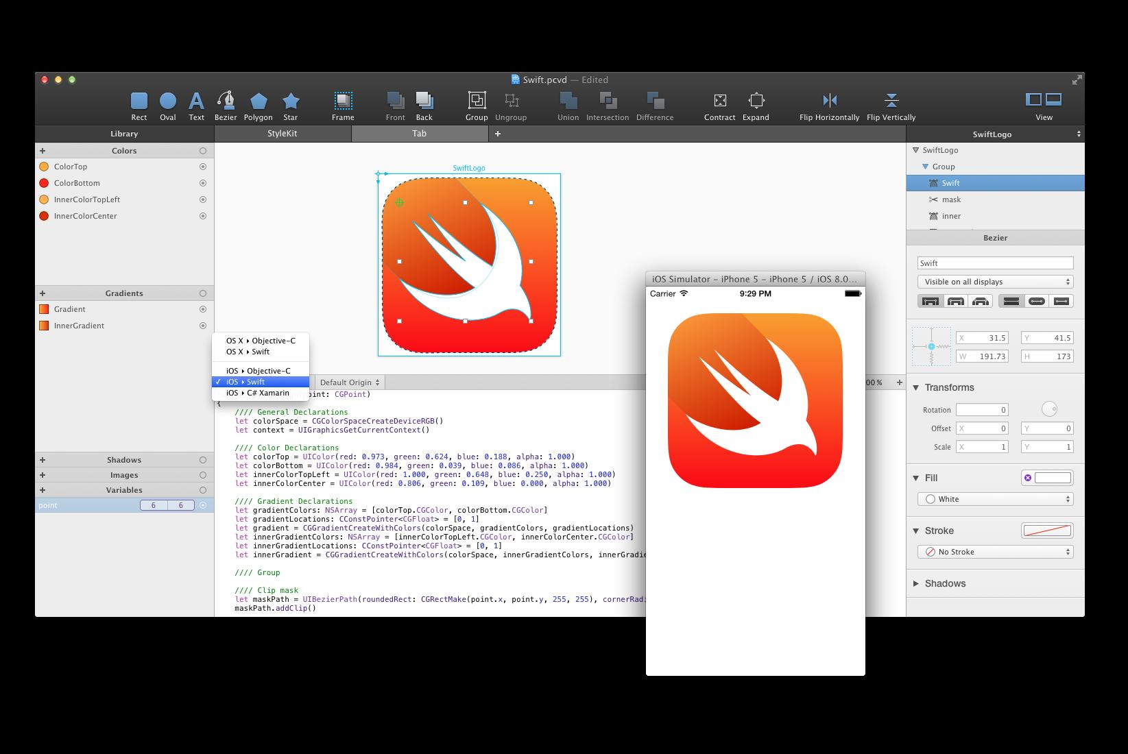 PaintCode, il tool di programmazione supporta già Swift