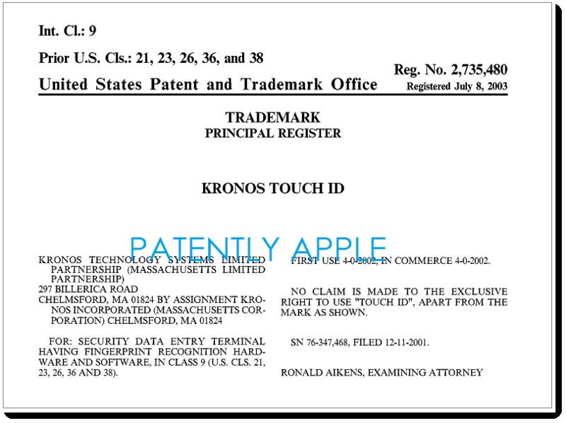 Stop al brevetto Touch Id
