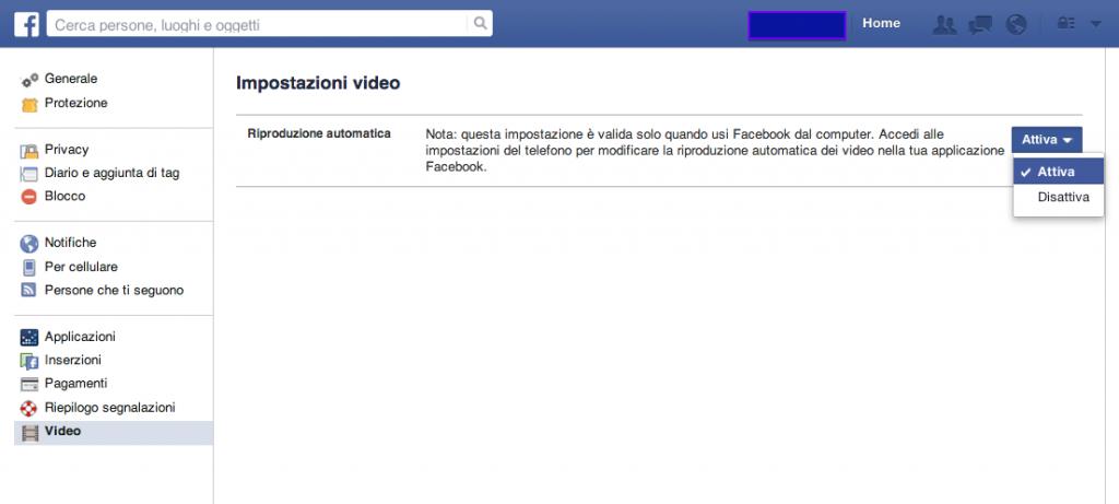 Come disattivare video automatici su Facebook
