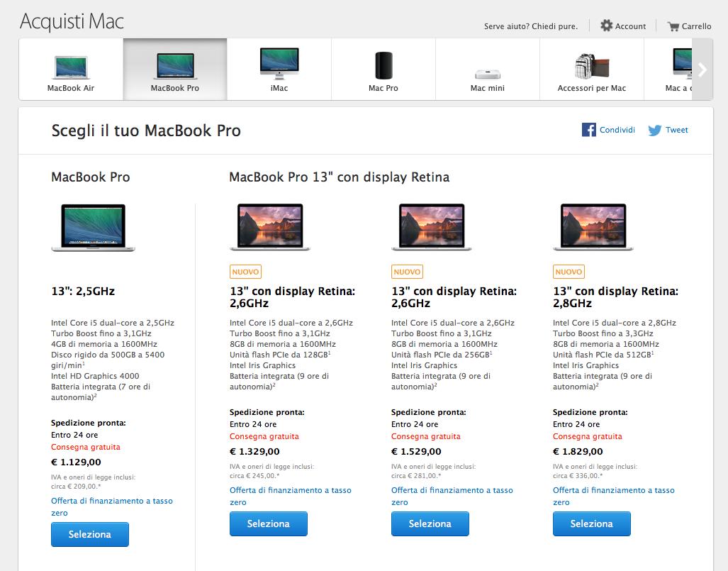 nuove configurazioni per MacBook Pro Retina