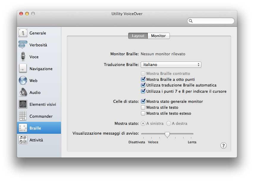 VoiceOver su OS X fornisce descrizioni vocali e Braille degli elementi visualizzati sul computer e permette di controllare il computer tramite la tastiera.
