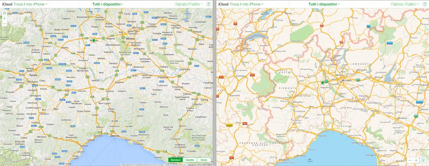 Mappe Trova il mio iPhone su iCloud