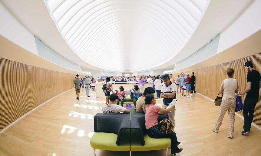 Handout photo shows the Commons, on the second floor of Florida Polytechnic University's Innovation, Science and Technology buliding, pictured in Lakeland