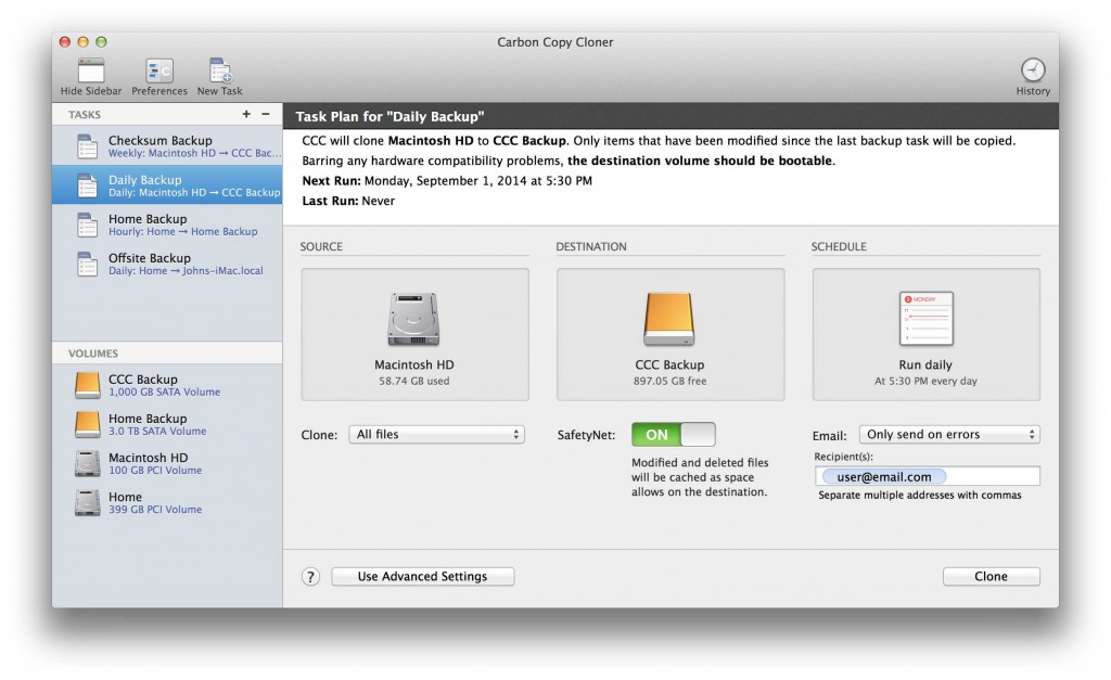 La nuova interfaccia di Carbon Copy Cloner