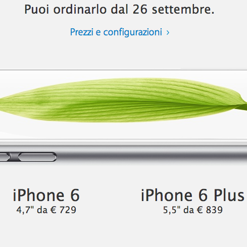 Prezzi iPhone 6 e iPhone 6 Plus: prevendita in Italia dal 26 settembre, si parte da 729 euro